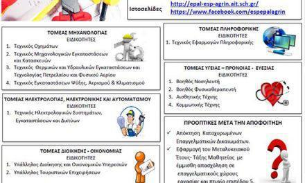 Eγγραφές στο Εσπερινό ΕΠΑΛ Αγρινίου για το Σχολικό Έτος 2017-18